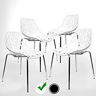 Modern Dining Chairs (Set of 4) by UrbanMod, White Chairs, Kid-Friendly Birch Chairs, Stackable Modern Chair, Mid Century Dining Chair