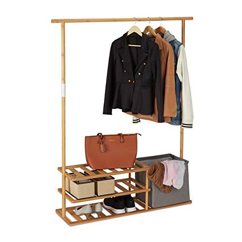 Relaxdays Kleiderständer Bambus, offener Garderobenständer m. Kleiderstange, Ablagen & Box, HBT 154 x 124 x 33 cm, natur