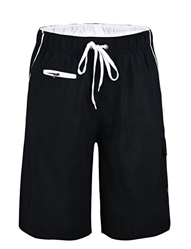 Nonwe Men's Beachwear Board Shorts Quick Dry Zipper Pockets with Lining Black(White Straps) 34