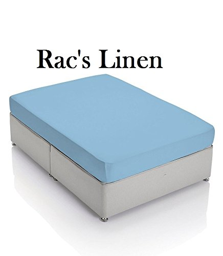 "Best Seller Luxurious 3-PCs Fitted Sheet Set on Amazon! Rac's Linen { Queen Size } 600-TC Egyptian Cotton Quality SOLID Light Blue Color { 1 Fitted Sheet With 15"" Inch Pocket + 2 Pillow Shams }"