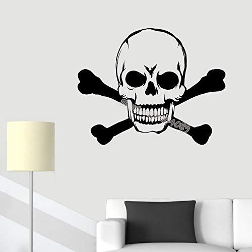 jiushivr Piratenschiff Schädel Silhouette Wandaufkleber Doubled Bones gekreuzte Knochen Jolly Flag Boot Zeichen Aufkleber Wohnkultur Wohnzimmer Wandbild 56x44cm