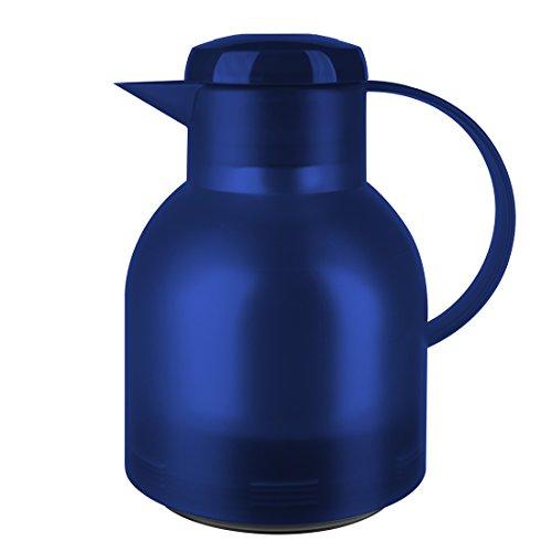 Emsa Samba Isolierkanne 504231 | 1 Liter | Quick Press Verschluss | 100% dicht | 12h heiß, 24h kalt | Blau Transluzent
