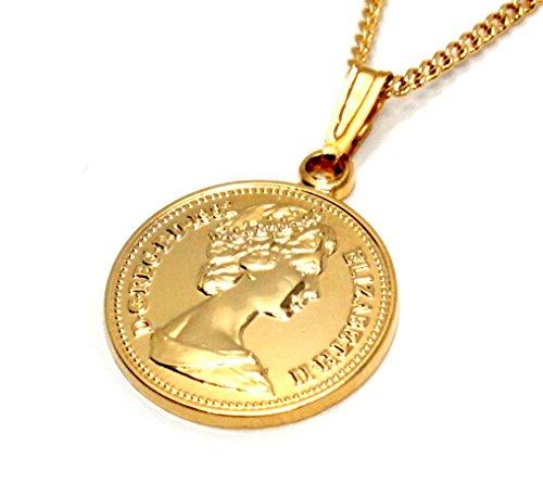 エリザベス コイン ペンダント ネックレス 日本製 K18 ゴールドプレート 喜平 チェーン 付き 小振り