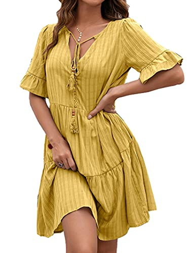 Vestido casual de manga corta con cuello en V y cuello en V para mujer, color sólido, volantes, volantes, vestido midi suelto