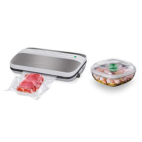 MACOM Forever Fresh VAC 6090 Macchina Sottovuoto Automatica per Alimenti con Portatagliarotolo e Barattolo per Marinatura