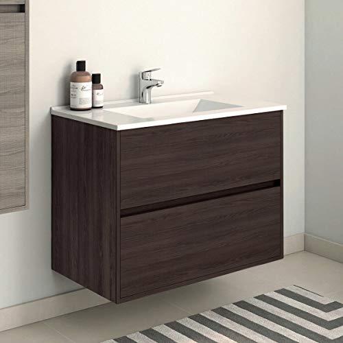VAROBATH Mueble de baño suspendido, 2 cajones amortiguados y Lavabo de cerámica - Mueble MONTADO - Modelo SADO (80 cms, Tea)