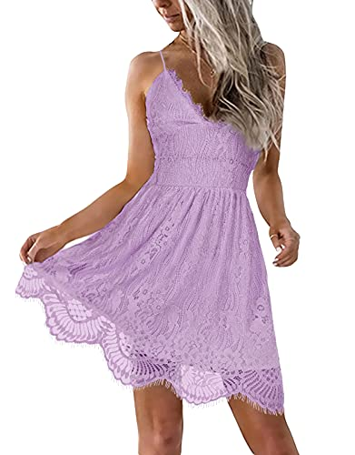 AOOKSMERY Women Summer V-Neck Spaghetti Straps Lace Backless Mini Party Club Beach Dresses (Lavender, Large)