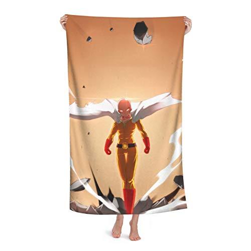 One PUNCH Man Toalla de baño para niños, playa, natación, casa, hotel, suave, extra grande, fibra superfina, para niñas y niños, 81 x 132 cm