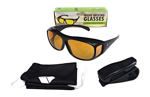 Brille/Brillenaufsatz für Nachtfahrten–mit Schutzhülle und Werkzeug–für Damen und Herren–Blendschutz–Delonnay Frères
