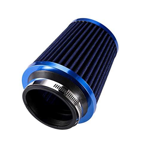 Xegood Filtro Aire Coche Universal Cromado Filtro Lavable y Reutilizable Azul 13 * 13 * 17cm