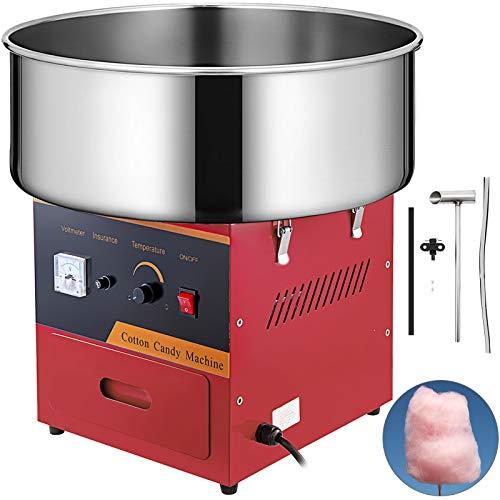 VEVOR ZuckerwattemaschineEdelstahl Elektrische Zuckerwattegerät 54 x 54 x 45 cm Zuckerwatte Maschine für Zuhause rot bunter zucker für zuckerwattemaschine 1000W