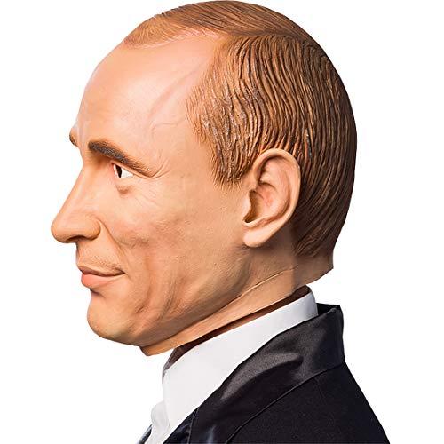 Amakando Männer-Maske Putin / Hautfarben / Auffälliges Kostüm-Accessoire Russland / Einsetzbar zu Fasching & Fasnet