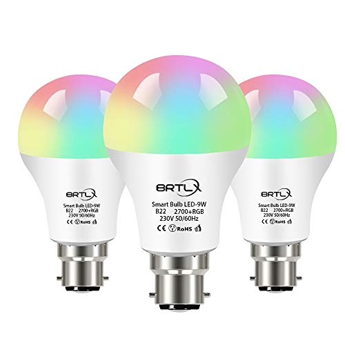 Lampadina Intelligente,BRTLX Lampadine Smart LED WiFi E27 9W RGB, 800LM Dimmerabile, Controllo iOS Android APP, Compatibile con Alexa e Google Home,3 Packs