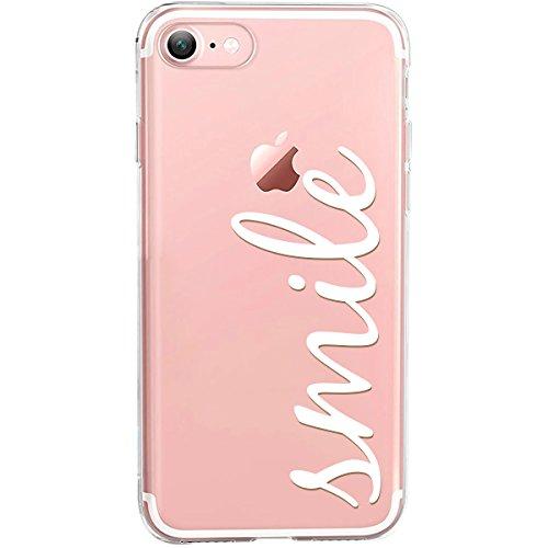 GIRLSCASES® | Hülle kompatibel für iPhone 8/7 | Mit coolen Spruch Aufdruck Motiv | Smile | Case transparente Schutzhülle | Farbe: weiß |