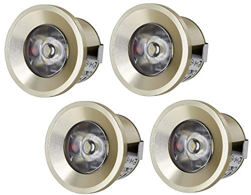 4er PACK - LED Mini Spot Aluminium Einbaustrahler 230V - Vollmetall - 1W 80lm - tagesweiß (4200 K)