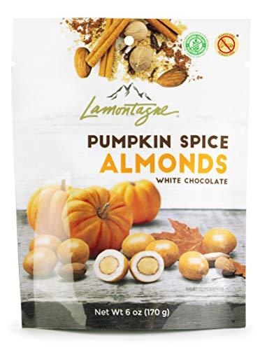 Lamontagne, White Chocolate, Pumpkin Spice Almonds, 3 x 6oz bags, Gluten-free, Peanut-free, Kosher Snack