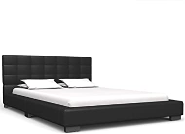 vidaXL Single Bed Frame Faux Leather Strong Wood Frame Rubber Legs Slat Support Mattress Foundation Upholstered Bed Bedroom F