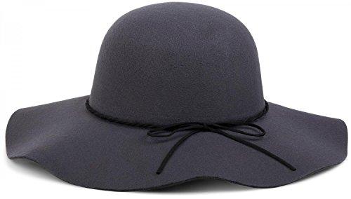 styleBREAKER Floppy Fedora Filzhut mit schmalem Zierband und Schleife aus Filz, Hut, Damen 04025008, Farbe:Dunkelgrau