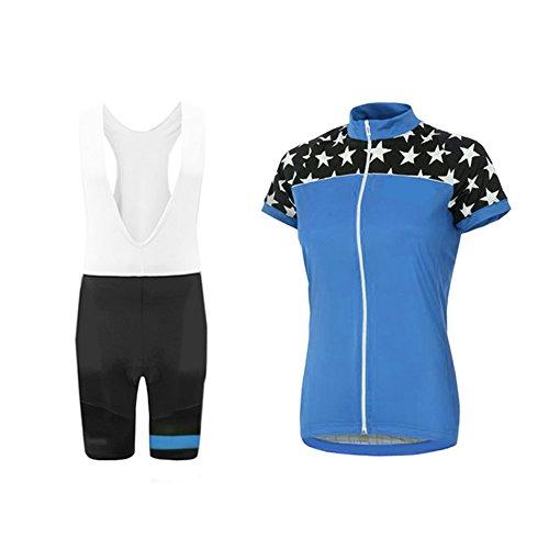 UGLY FROG Damen Fahrradtrikot Set Fahrradbekleidung Atmungsaktiv Fahrrad Trikot Kurzarm + Radhose mit 3D Sitzpolster