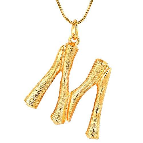 FOCALOOK Initiale Anhänger Groß Buchstabe M Halskette Damen Gelbgold überzogend Schlangenkette 1,2mm 55cm verstellbar Bambus Stil Coole Collier Schmuck für Mädchen in Gold
