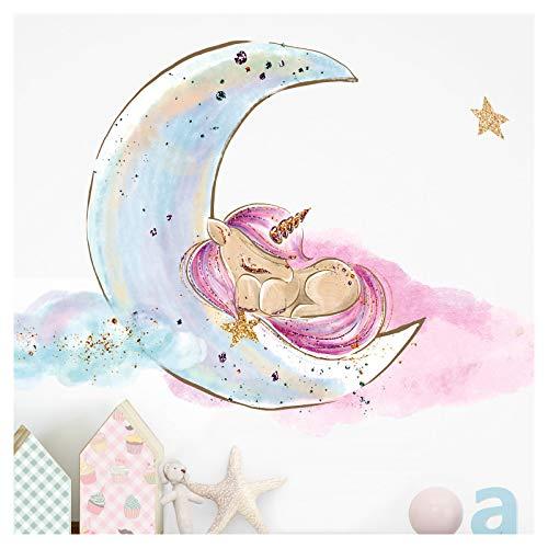 Little Deco Wandaufkleber Kinderzimmer Einhorn Mond Sterne Lila I 1 A4 Bogen I Baby Wandsticker Wandtattoo Babyzimmer Mädchenzimmer DL214-9