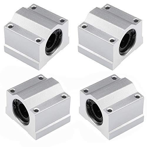 SamIdea 4-Pieces 3D Printer CNC Linear Motion Ball Bearing Slide Block Units, 10mm Bore Diameter (SCS10UU)