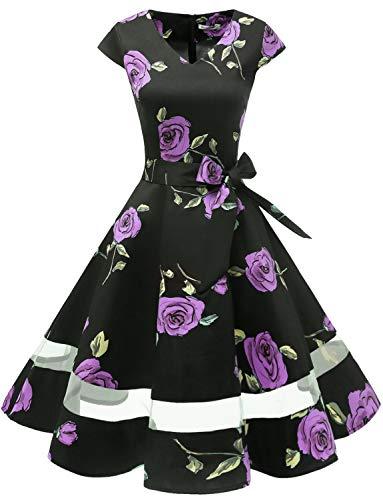 Gardenwed 1950er Vintage Retro Rockabilly Kleider Petticoat Faltenrock Cocktail Festliche Kleider Cap Sleeves Abendkleid Hochzeitkleid Purple Rose XS