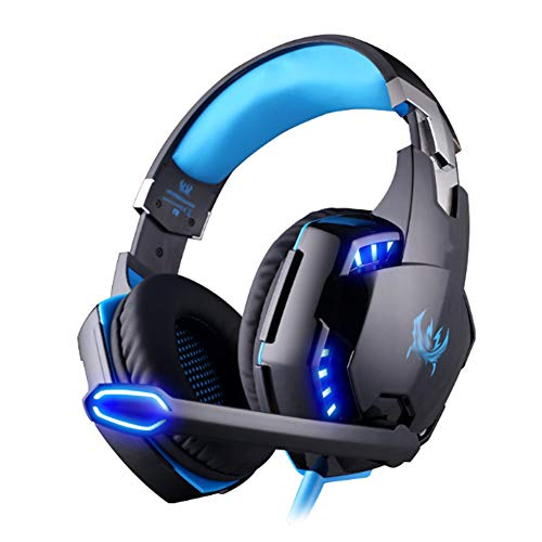 YPJKHM Casque de Jeu Gaming, USB 7.1 Surround Sound Game Gaming Computer Headset Écouteurs Bandeau avec Microphone-BlackBlue