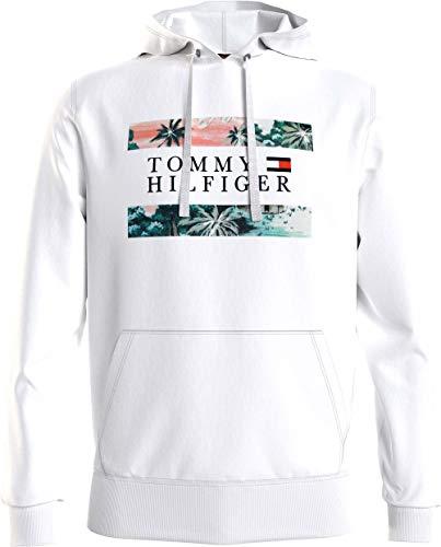 Tommy Hilfiger Hawaiian Flag Hoody Felpa con Cappuccio, Bianco, XL Uomo