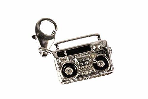 Miniblings Ghettoblaster Rekorder Charm Kassettenrekorder Mixtape Musik - Handmade Modeschmuck I Kettenanhänger versilbert - Bettelanhänger Bettelarmband - Anhänger für Armband
