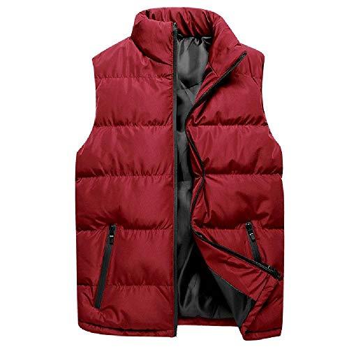El otoño y el invierno de los hombres de cuello de pie de color sólido engrosado de algodón acolchado chaqueta Chaleco Grande chaleco para los hombres