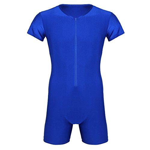 Agoky Herren Body Bodysuit Einteiler Kurz mit Reissverschluss Overall Slim Fit Männerbody Kurzarm Unterhemd Boxershorts Unterwäsche M-XXL Blau A XL
