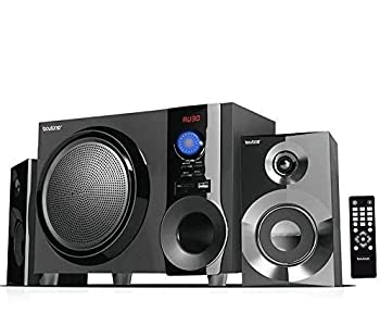 Boytone BT-210FB Wireless Bluetooth Stereo Audio Speaker with Powerful Sound Bass System Excellent Clear Sound & FM Radio Remote Control Aux-In Port USB/SD/for Phone s Laptops Black 30 W