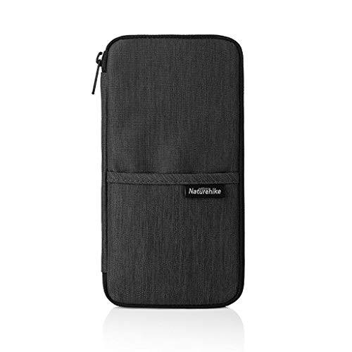 Naturehike ップ パスポートケース 財布 首下げ 海外旅行 出張 ビジネス 大容量 13ポケット 撥水加工 (黒)