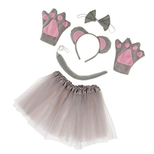 Homyl Set de Traje para Chicas Mujeres Estilo Ratón para Cumpleaños de Niños Disfraz Animal Día de Niños