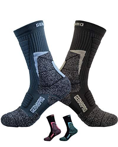 Mens Hiking Socks Outdoor Work Boot Socks w/ Anti-Odor-Blister Moisture Wicking Germanium & Coolmax All Season 2 pairs