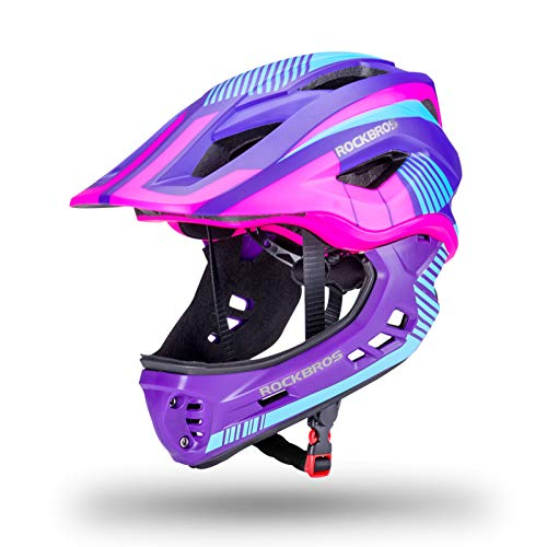 ROCKBROS Kinderhelm Fahrradhelm Integralhelm mit Abnehmbaren Kinnschutz Jugend Schutzhelm für Fahrrad Scooter Skateboard CE Zertifiziert 50-58cm