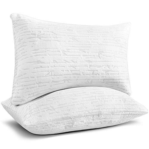 Clara Clark Shredded Memory Foam Pillow King, Pillow for Sleeping, Adjustable Memory Foam Pillow with Washable Case, Firm Memory Foam Pillow Set of 2