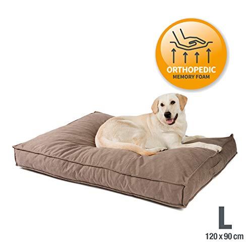JAMAXX Premium Hundekissen Orthopädisch Memory Visco Schaum Waschbar Abnehmbarer Bezug Wasserabweisend - Weicher Samtiger Sofa Stoff - Hundebett PDB1001 (L) 120x90 Sand
