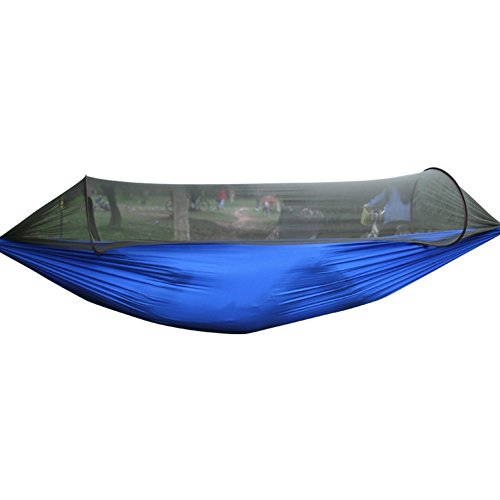 Outdoor amaca, Camping paracadute hammock Foldable Lightweight Fabric Double Hammock with Mosquito Net For Outdoor Camping Hiking Beach travel Back Pack with Mosquito Netting High Load
