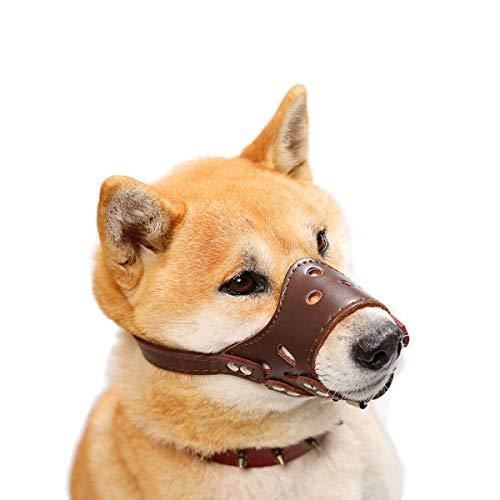 HITNEXT Maulkorb für Hunde aus sanftem Leder, braun, für Anti-Bellen/Beißen/Kauen, Verstellbarer Maulkorb für kleine, mittelgroße und große Hunde