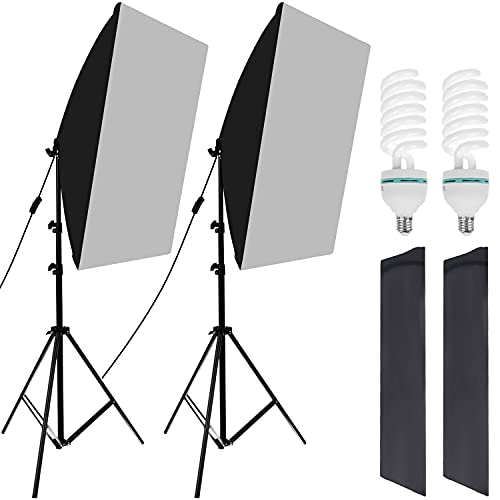 ISO TRADE Softbox Set Fotostudio 50 x 70cm, Dauerlicht Studioleuchte Set mit 2 Softboxlampen 150W 14145