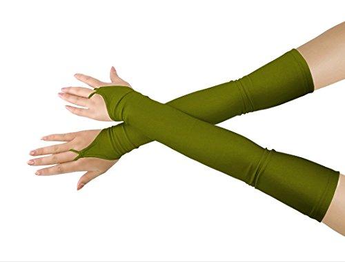 lucky baby store Mädchen 'Boys' Erwachsene Halloween Make-Up Fingerlose Über Elbow Cosplay Kostüm Handschuhe (army green)