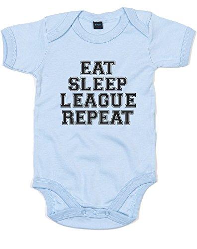 Eat Sleep League Repeat, Imprimé bébé Grandir - Dusty Blue/Black 0-3 Months