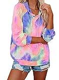 Eytino Women Hoodies Tops Tie Dye Printed Long Sleeve Pullover Sweatshirts,X-Large Multicolor