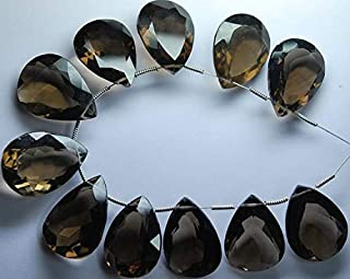 Jewel Beads Natural Beautiful jewellery 3 Pieces, AAA Quality,Smoky Quartz Cut Stone Pear Shaped Briolettes, 14-20mm Long size,Code:- JBB-29679
