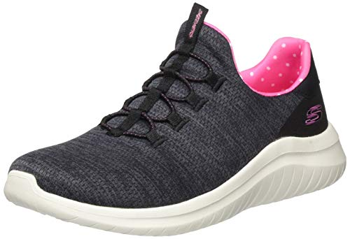 Skechers Ultra Flex 2.0-Delightful SPO', Zapatillas Mujer, Bkpk Black Heathered Mesh/Pink Trim, 37 EU