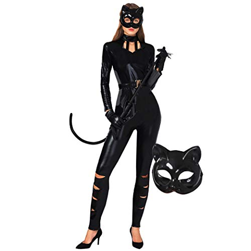 Spooktacular Creations Classic Halloween Catwoman Costume for Adult Women, Catsuit with Kitty Mask and Belt(Medium) Black