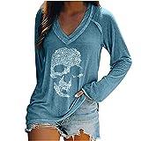 Wave166 Blusa para mujer, camiseta de Halloween, monocolor, sexy,...