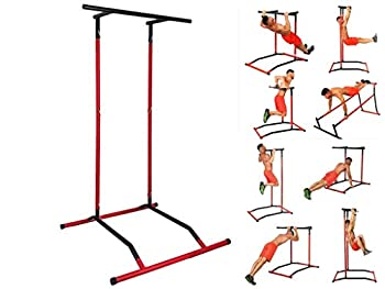 Doublelift Pull Up Bar Free Standing Dip Station Portable Power Tower Multifunctional Chin Up Bar Stand Pull Up Rack w/Storage Bag Home Gym Strength Training Fitness Equipment Bearing 300lb【US Stock】